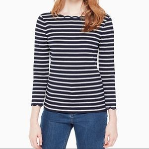 Kate Spade ♠️ scalloped striped top nwot